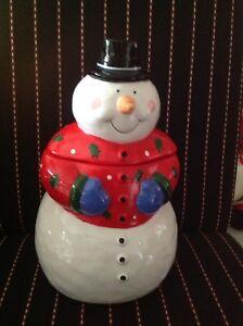 "Coco Dowley Ceramic Snowman Cookie Jar Christmas Holiday 12"" tall"