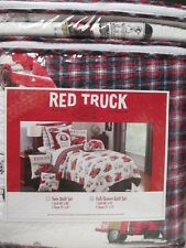RED TRUCK Kids 3pc White Red Blue Firetruck Plaid Quilt Set - Full/Queen