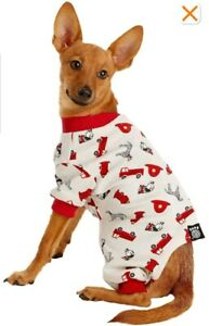"NWT NEW PETRAGEOUS FIRETRUCK DOG PUPPY PAJAMAS XS EXTRA SMALL 7""-9"""