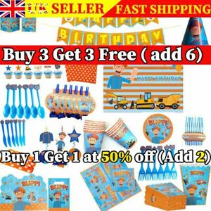 BLIPPI Theme Kids Birthday Party Supplies Decoration  Balloons Cover Banner UK`