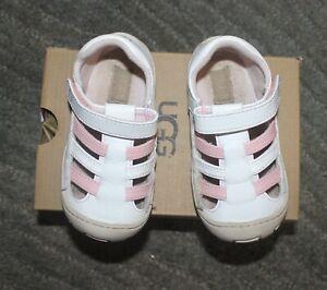 UGG TODDLER Girls SANTORE SANDALS Shoes (WHITE/PINK) - Size 8 - NIB