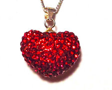 Swarovski Element Puffy Heart Pendant Necklace ~ Sterling Silver ~ Gift box