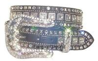 Womens Western Rhinestone Bling Crystal Black Leather Snap On Buckle Belt M SM