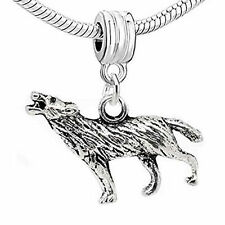 Hawling Wolf 3d Dangle Charm European Bead Compatible for Most European Snake Ch