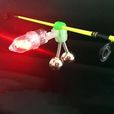 LED Night Fishing Bite Bait Alarm Twin 2 Bells Light Rod Tip Clip Alert Ring 1pc
