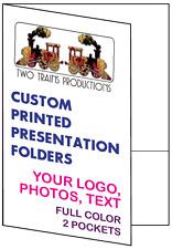 Printed Presentation Folders, 100 Full Color Custom 2-Pocket, Your Logo & Design
