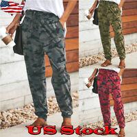 Casual Women Camouflage Jogger Pants Camo Print Joggers Elastic Waist Sweatpants
