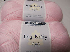 PATONS BIG BABY 4 PLY YARN,2 BALLS PALE PINK 100GR,NO 2542