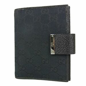Auth GUCCI GG Canvas Leather Bifold Agenda Book Cover Daily Planner 17650bkac