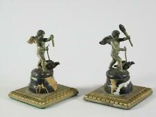 Pair: Antique Bronze / Silverplate Cherub Garnitures Mounted on Marble Bases