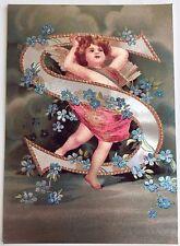 """*Vintage ANGEL ALPHABET LETTER """"S"""" Floral FOIL POSTCARD Clapsaddle FORGET-ME-NOT"""