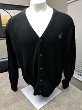 IZOD MENS XXLarge NAVY Cardigan SWEATER Embroidered Crest BUTTON DOWN