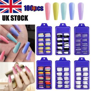 100X False Nail Tips Matte Full Cover Long Stiletto Fake Nails Art Manicure New