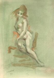 Harry Carmean charming drawing of female model 1993 green pastel