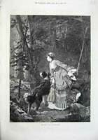 Original Old Antique Print 1874 Fine Art Forest Glade Woman Dog Country Tree