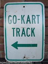 Original GO-KART TRACK Directional Arrow Sign retired Pa Amusement Park Adv Sign