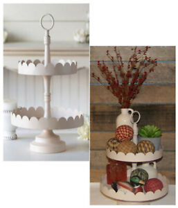 Two Tier Scalloped Tray Stand Display Centerpiece Fruit Veggie Cupcake Sandwich