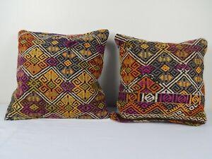 Vintage Handmade Orange Color Matching Pair Kilim Pillow Covers 18'' x 18''