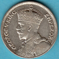New Zealand 1934 - King George V.. - Six Pence Silber Münze
