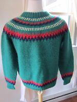 Shetland Islands Scotland Scottish~ VINTAGE  Hand Knit Wool Men's Sweater M