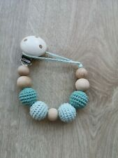 Natural Wood Dummy Chain, Organic Cotton, Wooden Beads, Soother Clip, Pacifier