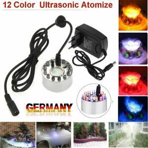 12 LED Mini Nebler Ultraschall Vernebler Farbwechsel RGB Brunnen Wassernebel DE