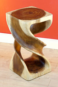 Wood Side Table 19 11/16in Solid Stool Columns Night Living Room