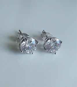 DIAMONIQUE CLEAR CZ 7.0mm ROUND CUT 2.25ct STERLING SILVER STUD EARRINGS NEW QVC