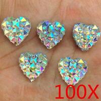 Lots 100Pcs Nail Art 3D Silver Heart Shape Faced Flat Back Resin Beads DIY 10mm