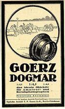 Goerz-Dogmar Objektiv für Amateur-u.Berufsphotographen Historische Annonce 1918
