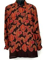Vtg Jones New York Womens Button Up Blouse Paisley Brown Button Up Tunic Shirt 6