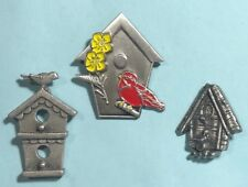 3 Bird �🕊House Pins -Signed -Jj , Enameled pin & '96 Danforth Pewter