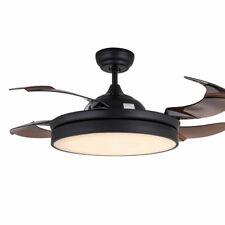 "Modern 42"" Invisible Ceiling Fan Light Led Chandelier Fan 4 Blades W/Remote 110V"
