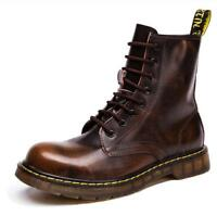 Vintage Men Ankle Boots Military Lace Up Round Toe Combat Boot New Casual Shoes