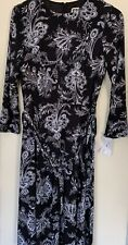 ANNE KLEIN Women Black Grey Floral Fit & Flare 3/4 Sleeve Midi Dress Size UK10