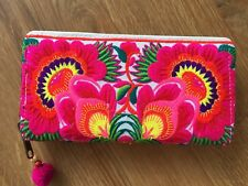 Handmade Tribal Thai Hippie Boho Ethnic Hmong Floral Embroidered Wallet Purse #6