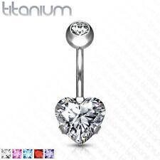 Implant Grade Titanium Prong Set CZ Heart Belly Bar