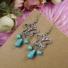 New Cute & Fun Tibetan Silver Turquoise Bead Butterfly Dangle Drop Earrings