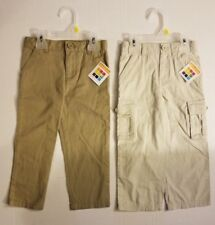 Healthtex Toddler Boys 2 PACK Adjustable Cargo Pants & Flat Front Chino 3T NWT