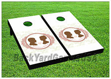 Cornhole Beanbag Toss Game w Bags Game Boards Wedding Day Just Married Set 910