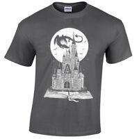 Kids Fairy Tail Book T-Shirt Story Dragon Castle Fantasy Moon Stars childrens