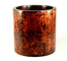- SUPERB Antique 19th c. Chinese Burl Mahogany Wood Carved Brush Pot Bitong