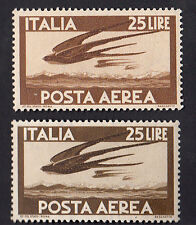 ITALIA VARIETA' POSTA AEREA LIRE 25 COLORI DIVERSI MARRONE CHIARO E SCURO 1947