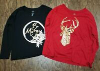 St Johns Bay Holiday Christmas Tops Merry Red Black Gold Deer Lot of 2 Shirts XL