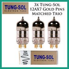 New 3x Tung-Sol Gold 12AX7 / ECC803S | Matched Trio / Set / Three Tubes Gold Pin