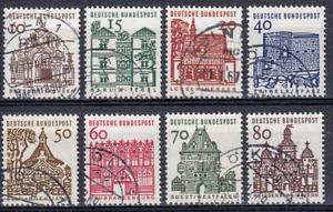 Bund BRD Mi. 454-461 kleine Bauten komplett, alle sauber Köln gestempelt