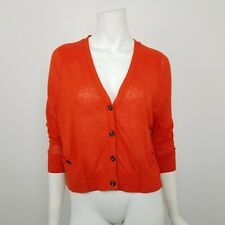 NWOT Moth Anthropologie Red Linen Blend Cropped Cardigan Sweater Size Small
