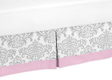 Sweet Jojo Pink Gray White Damask Girls Teen Queen Bedding Bed Skirt Dust Ruffle