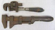 """2 Vintage PIPE WRENCH Wood Handle STILLSON #10 & Steel Handle COES? 12"""" Monkey"""
