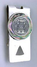 2 2/5 x 1 1/5 Inch TLALOC Aztec Fertility God Abalone Sterling Silver Money Clip